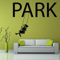 Sticker decorativ Fata pe leagan in parc - Sticker pentru dormitor sau decor de living