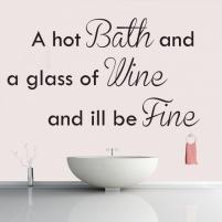 Sticker decorativ Hot Bath Glass Of Wine - Sticker pentru baie sau camera de copii